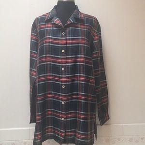 Silkland top plaid blouse vintage